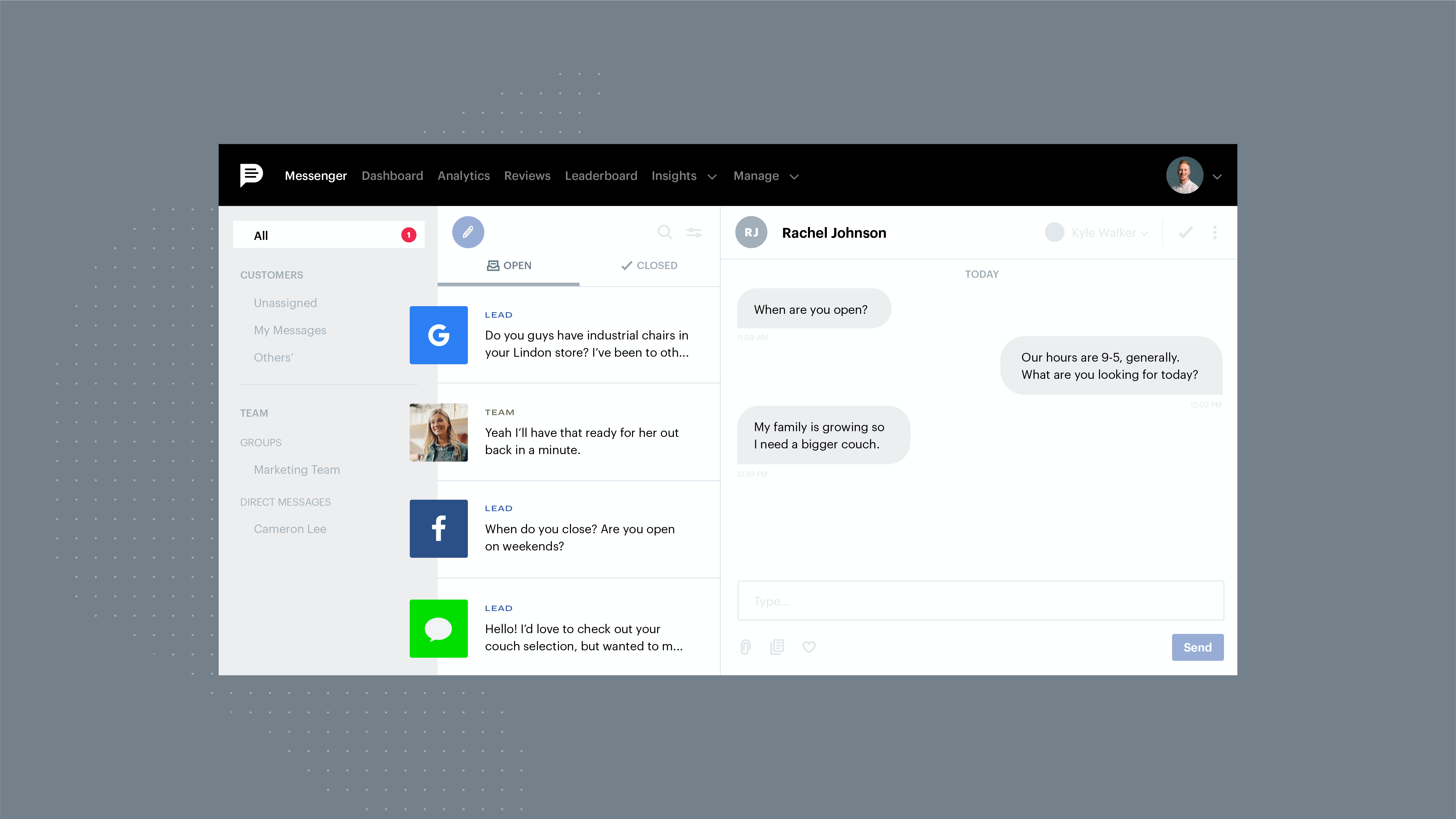 Podium screenshot: Easily manage all your customer messaging channels in one dashboard. Add user level access so the right teams are able to handle any communication and your customers have a great experience.