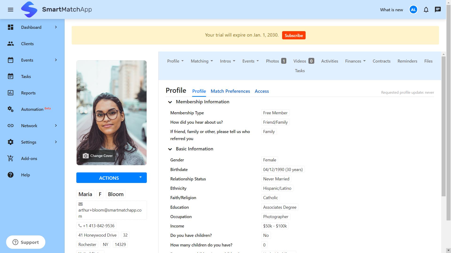 SmartMatchApp Client Profile View