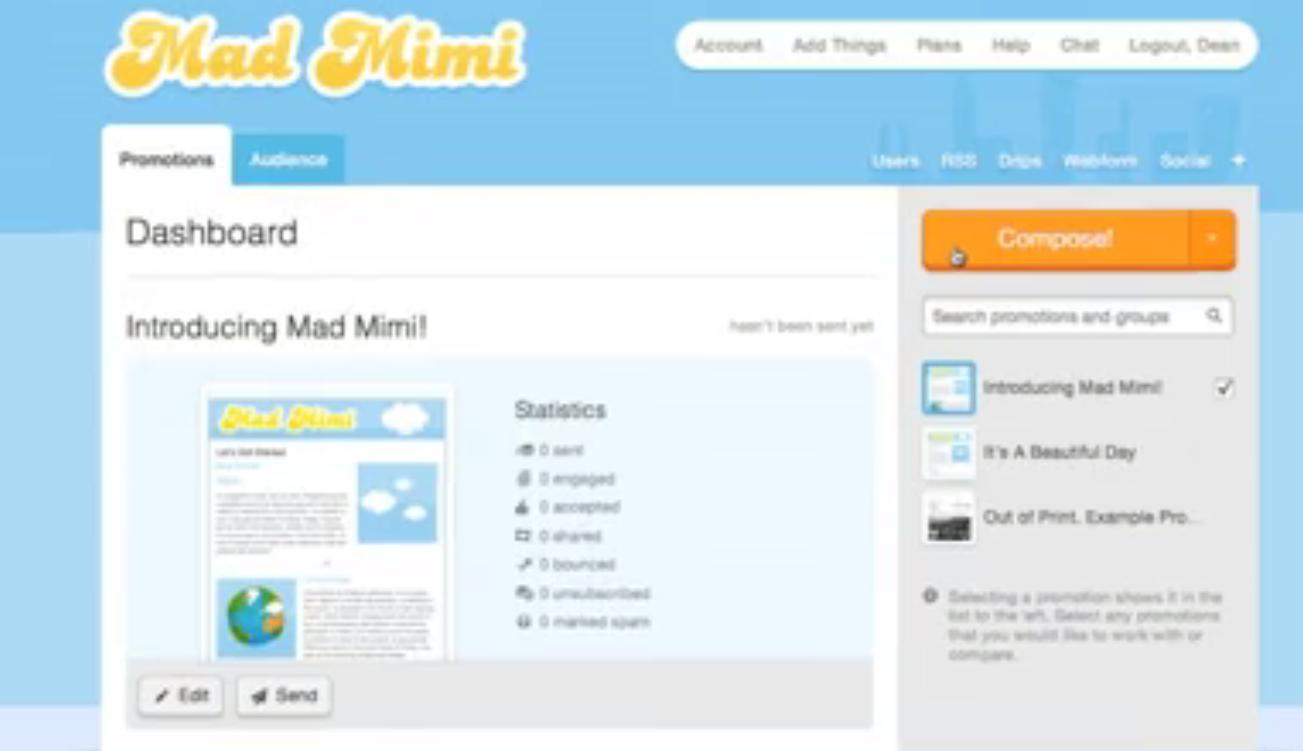 Mad Mimi Software - Dashboard