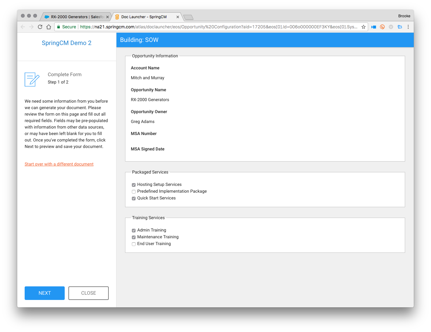 SpringCM screenshot: Generate documents easily via Salesforce or the SpringCM platform. Choose from pre-approved templates including a clause library, pulling data directly from Salesforce or other data sources.