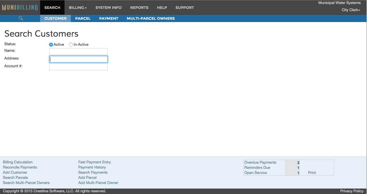 The Search Customers page can be used to search for active or inactive customers, parcels, payments and multi-parcel owners