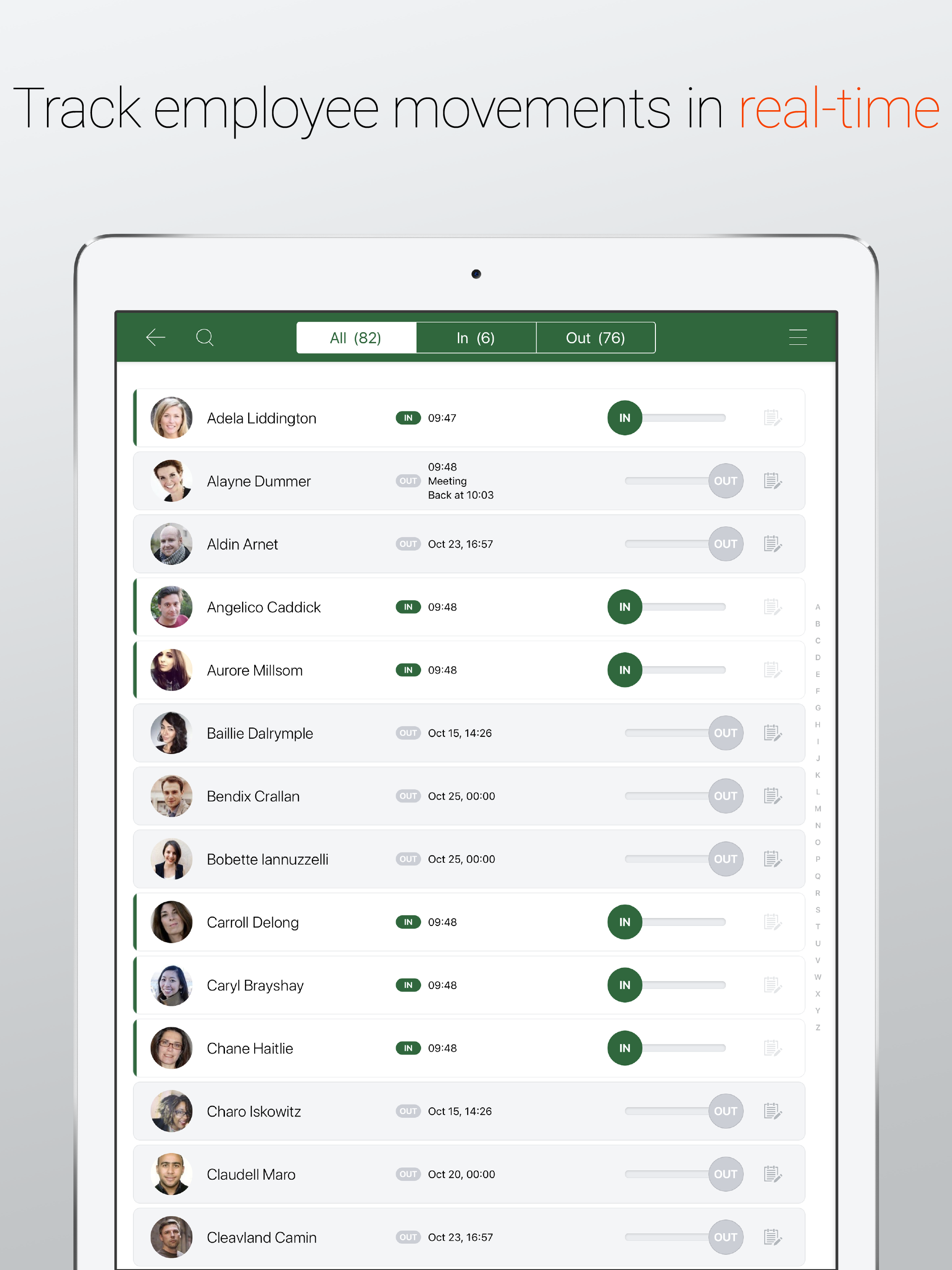 Employee movements in real time