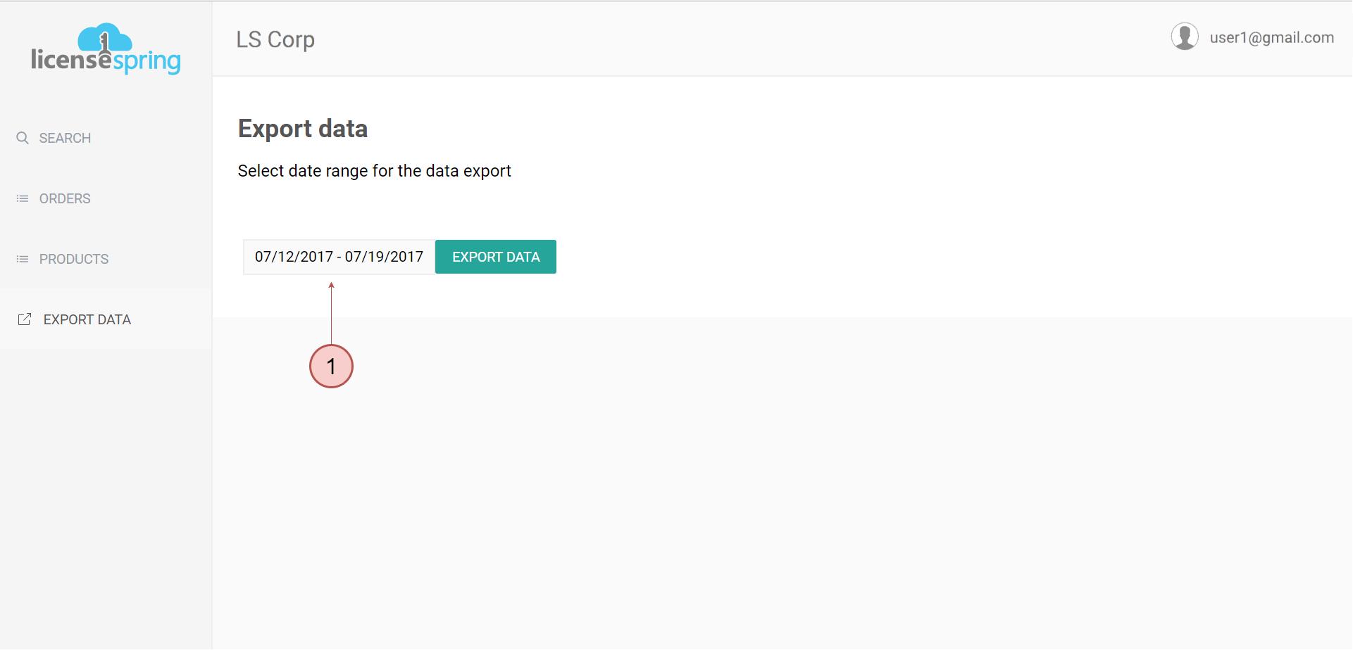 LicenseSpring screenshot: LicenseSpring data export screenshot