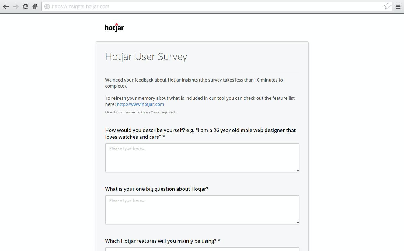 Build your own user surveys with Hotjar