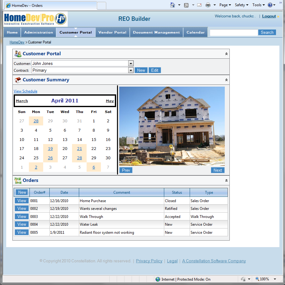 HomeDev Pro customer portal