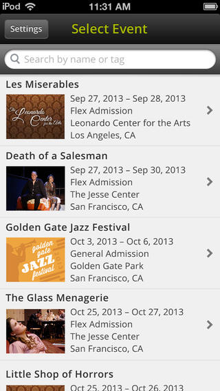 Vendini TicketAgent select event on iOS app for iPhone