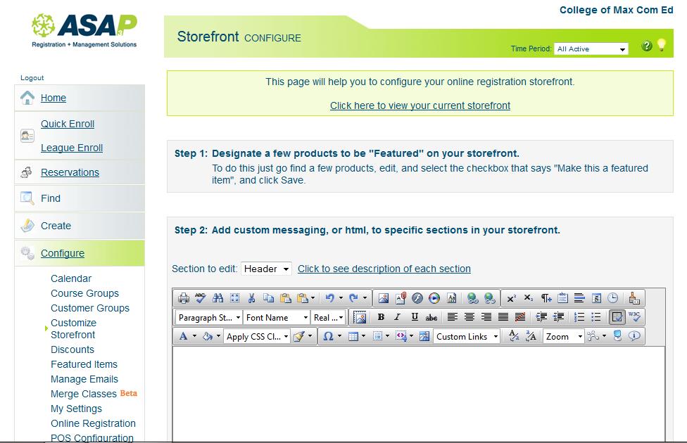 ASAP Software - Storefront configuration