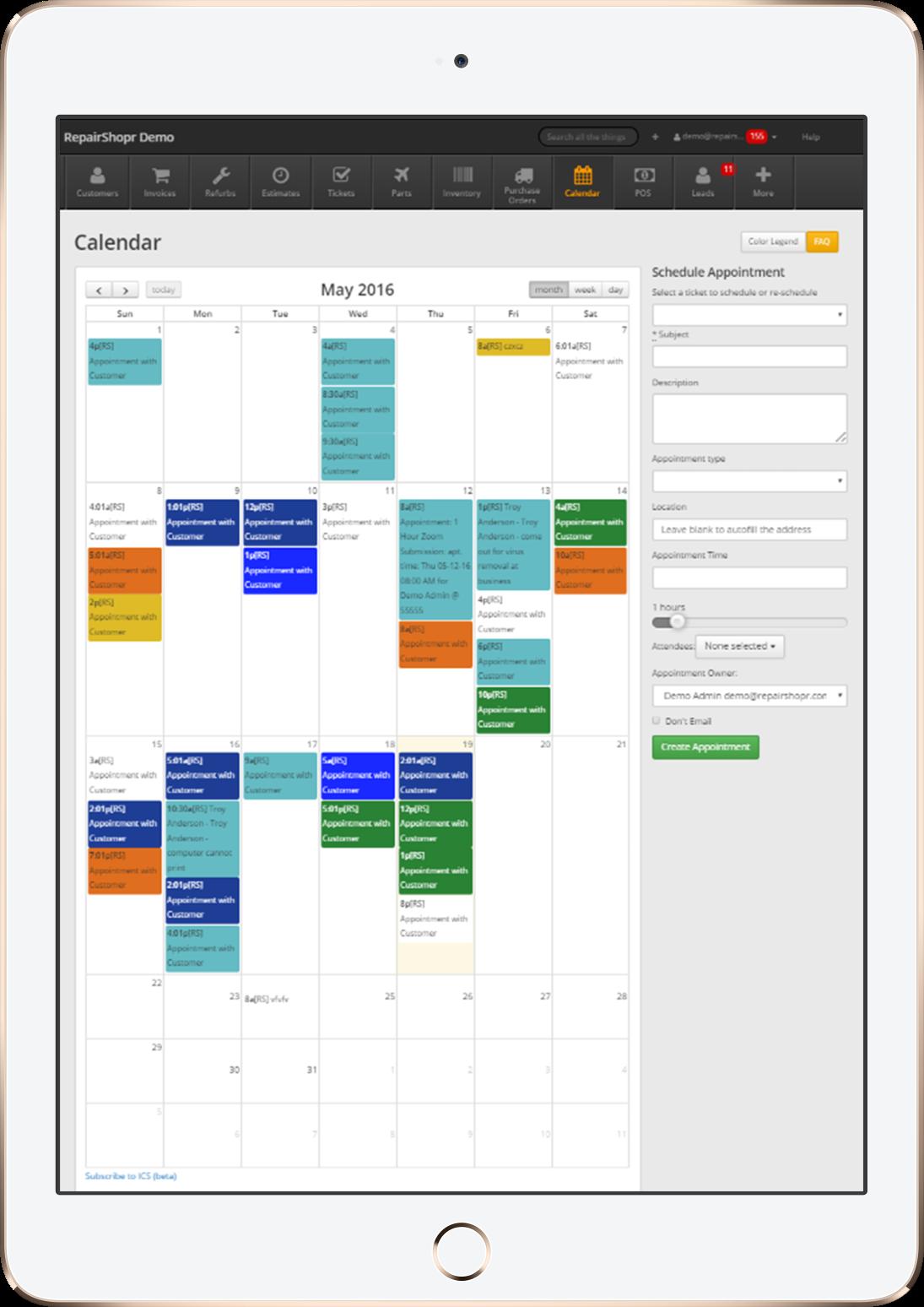 RepairShopr Software - RepairShopr mobile calendar view