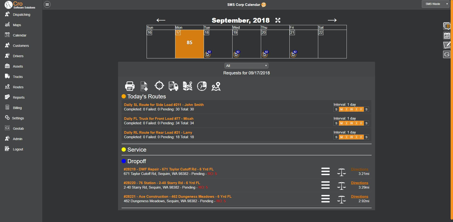 CRO Software scheduling screenshot