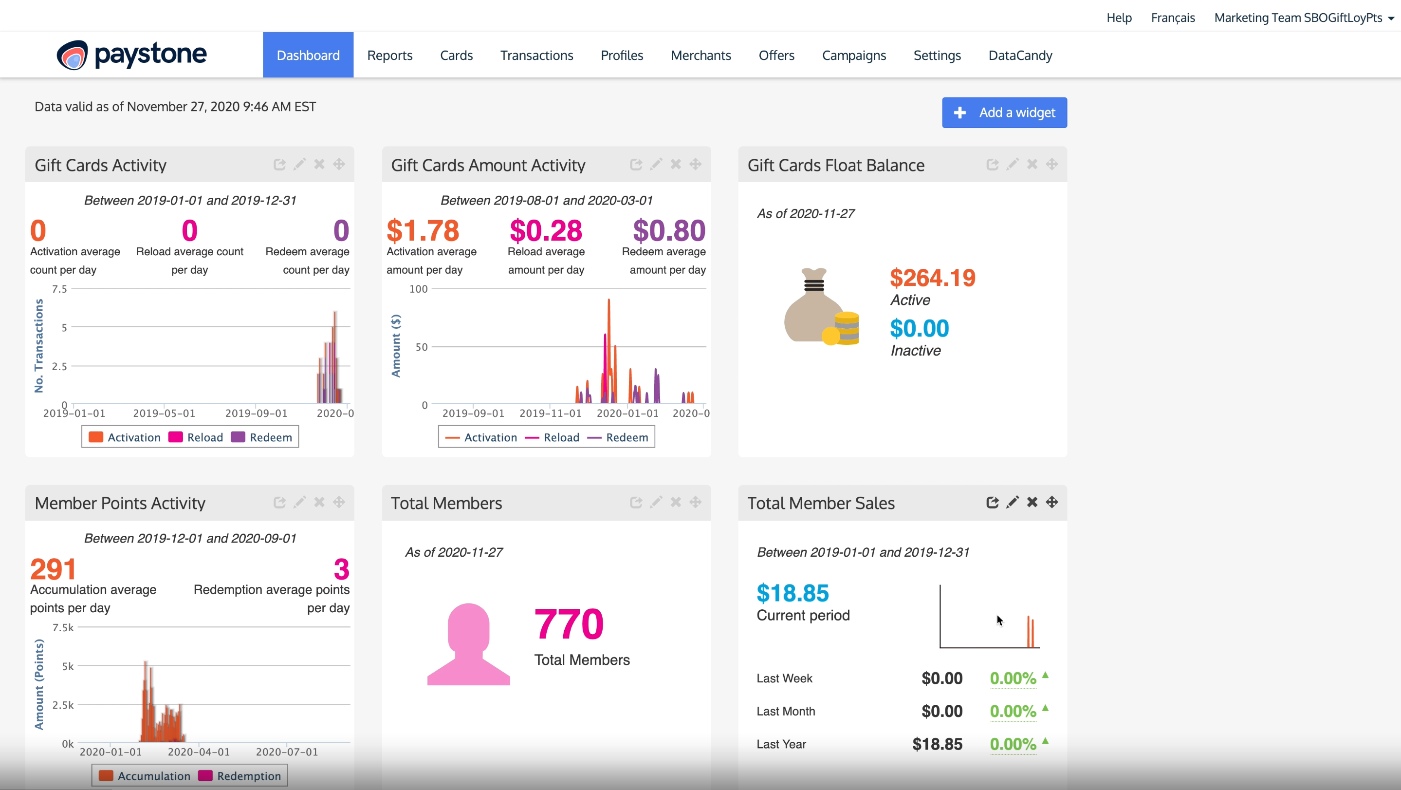Paystone Software - Paystone Reporting Dashboard (BackOffice)