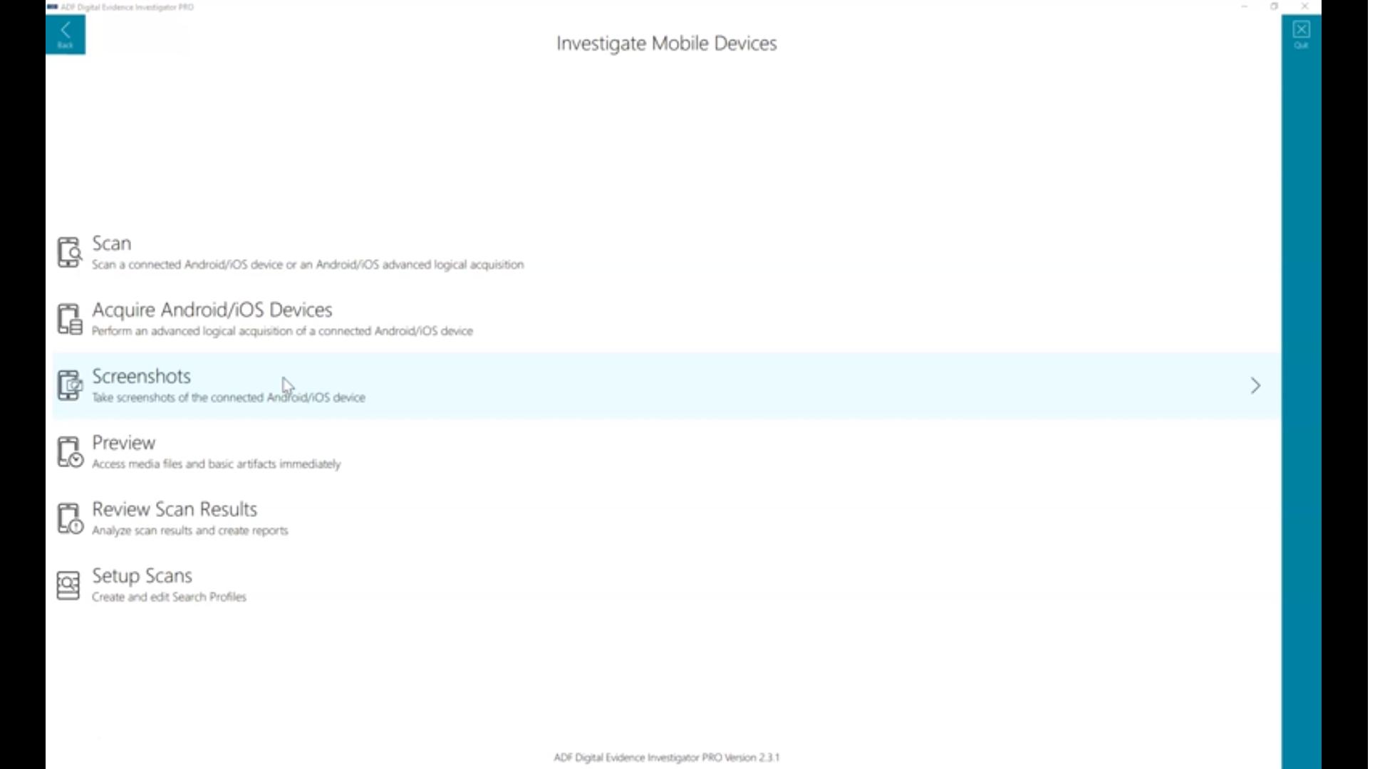 Digital Evidence Investigator device scan