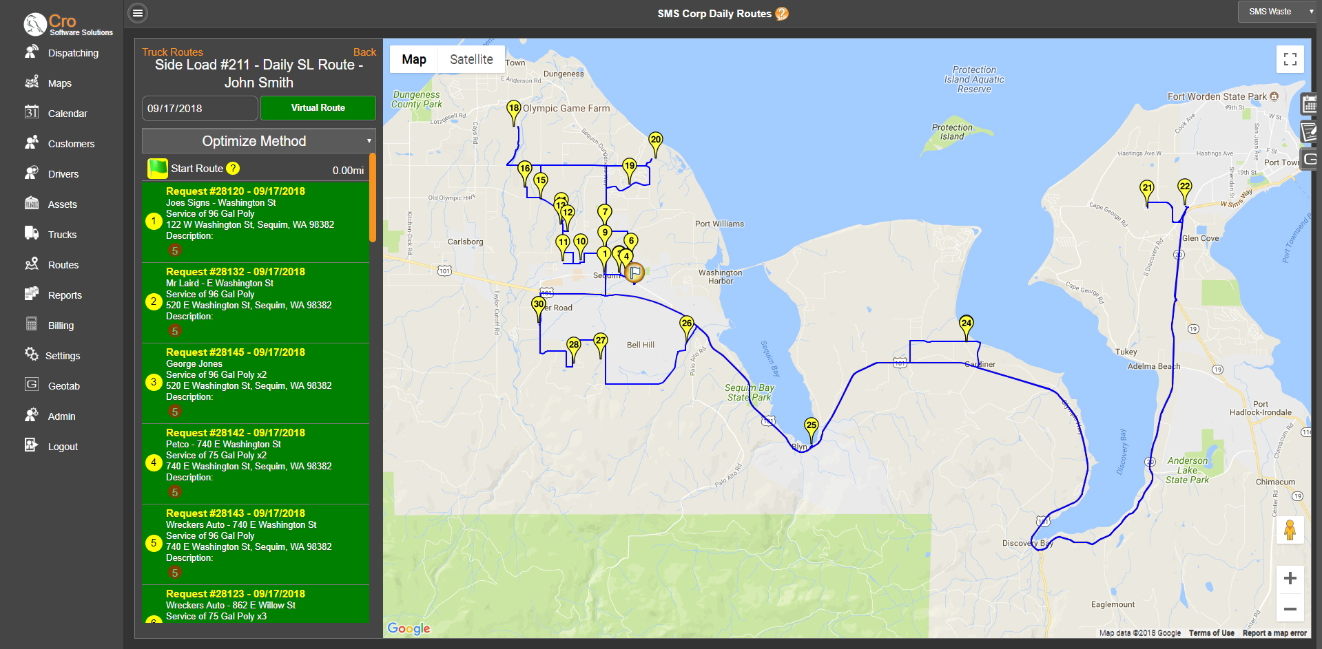Route map daily truck list
