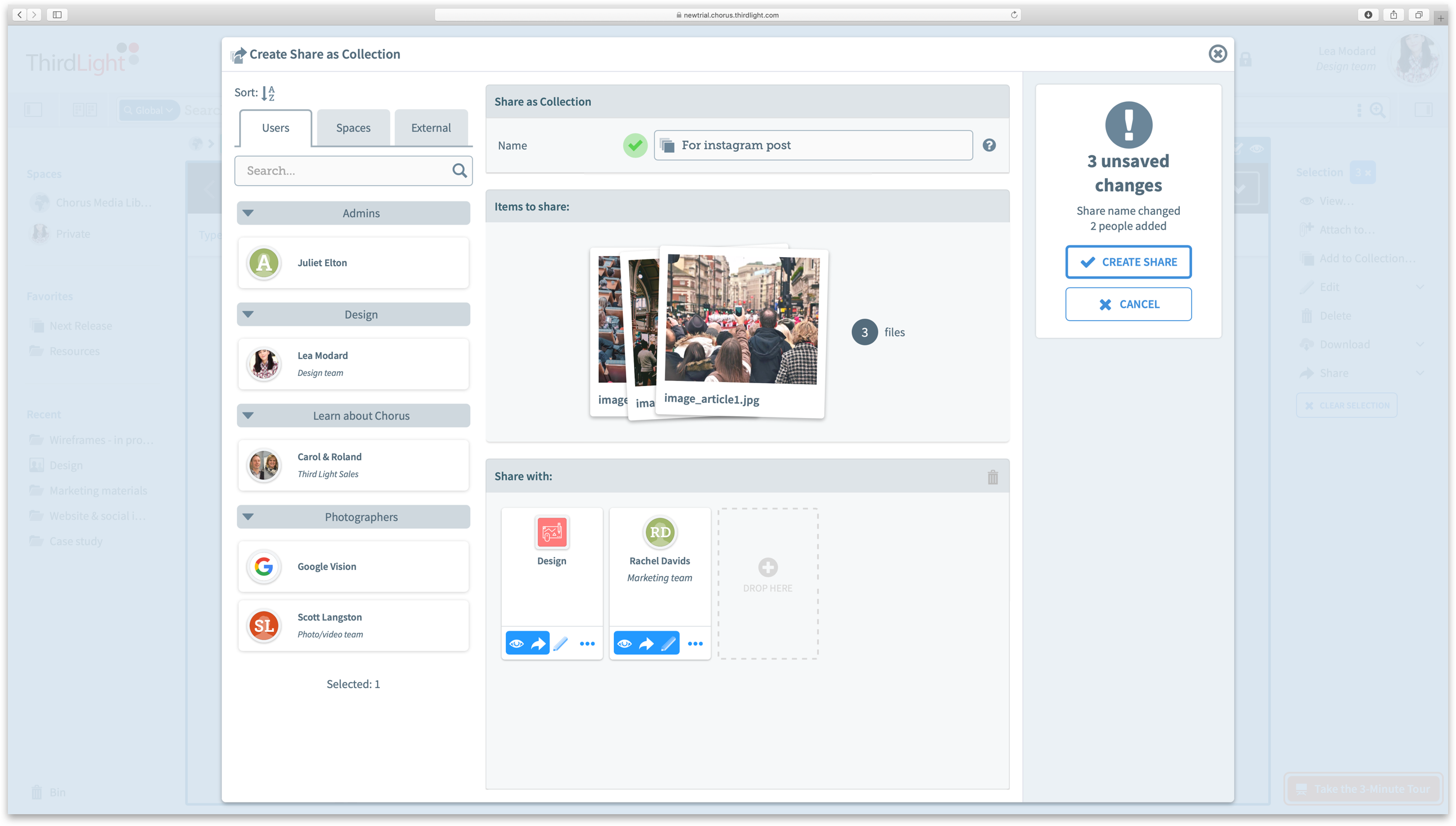 Share with multiple users - with the flexibility to give each recipient different usage permissions