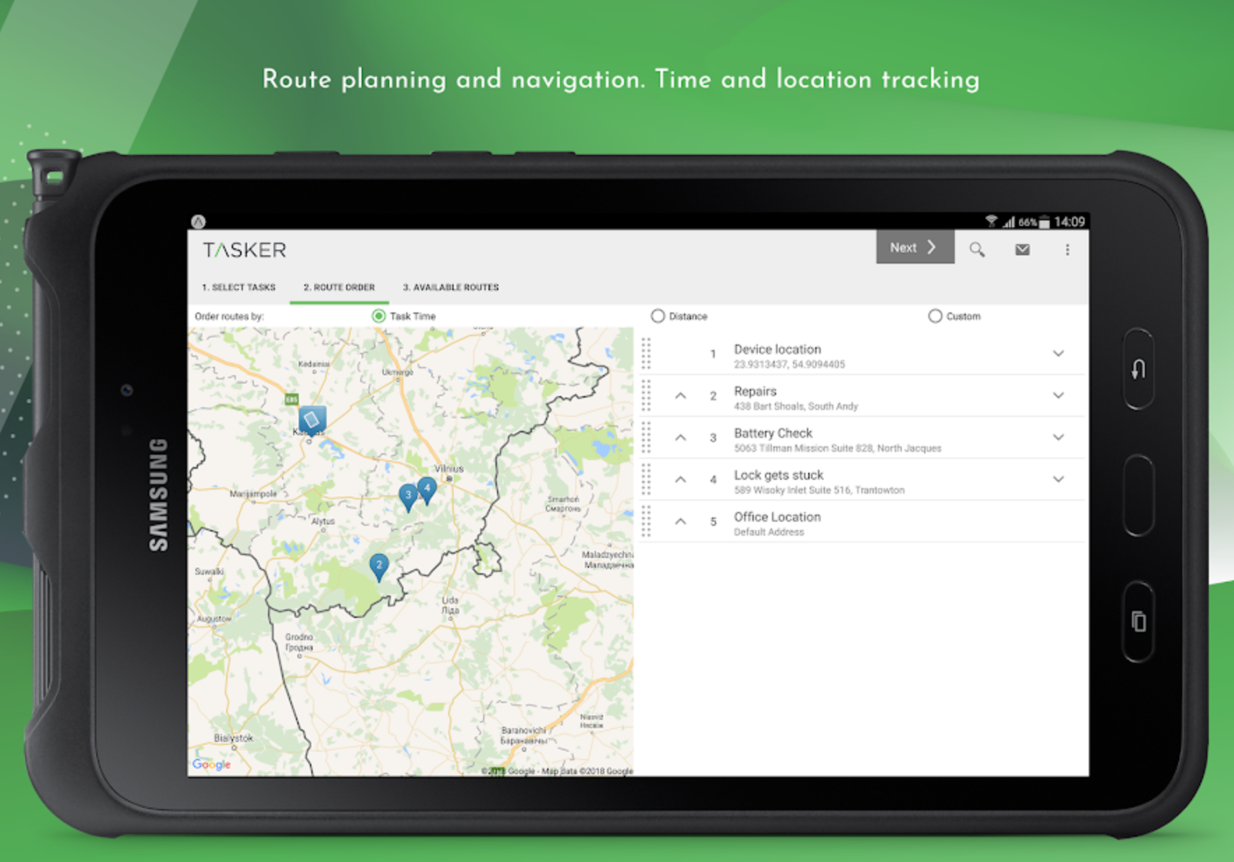 Plan routes with real-time navigation for time and location tracking