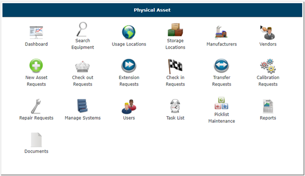 Physical Assets Main Menu