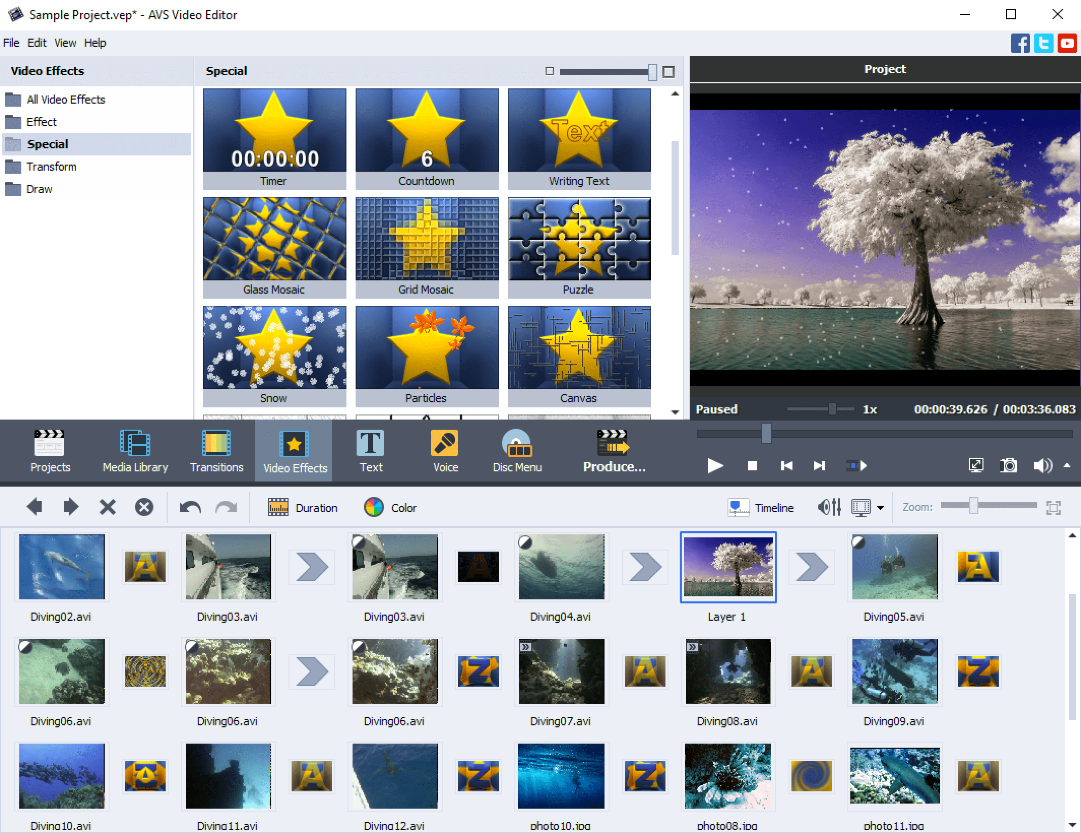 AVS Video Editor - Effects and transitions