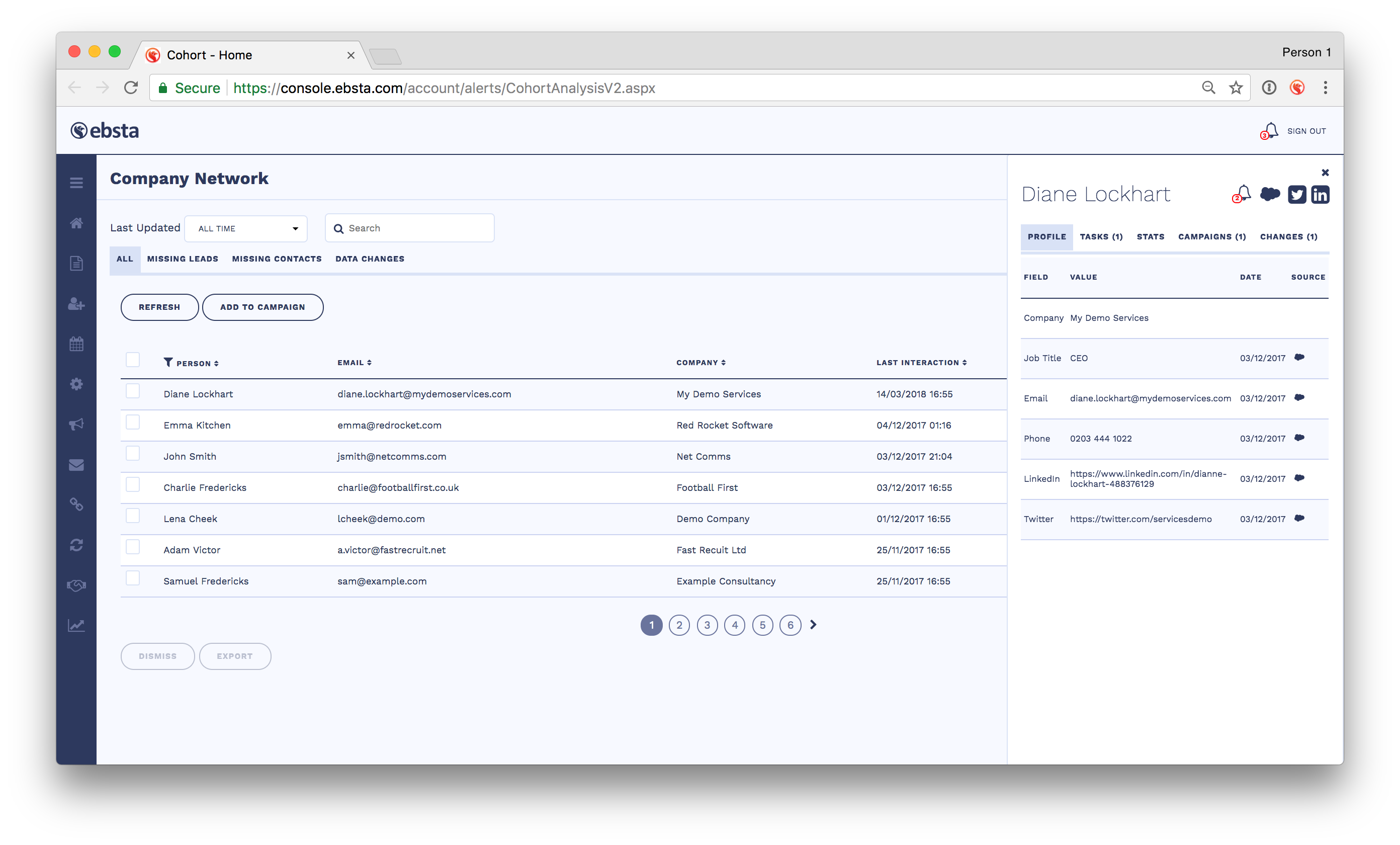 Ebsta screenshot: Ebsta helps users uncover contacts across their whole company