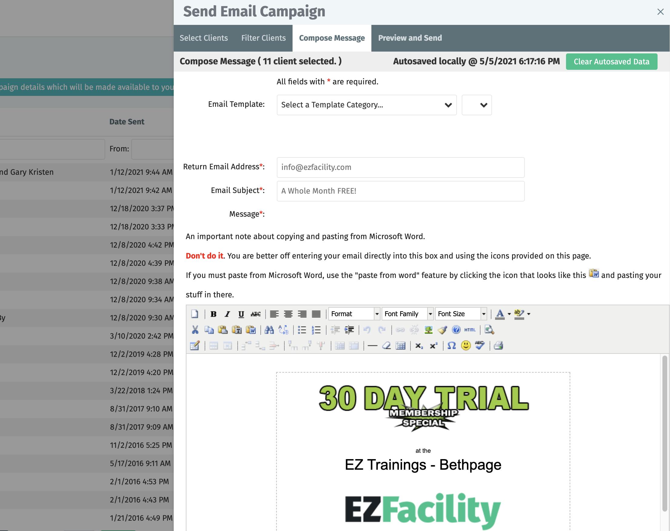 EZFacility marketing campaigns
