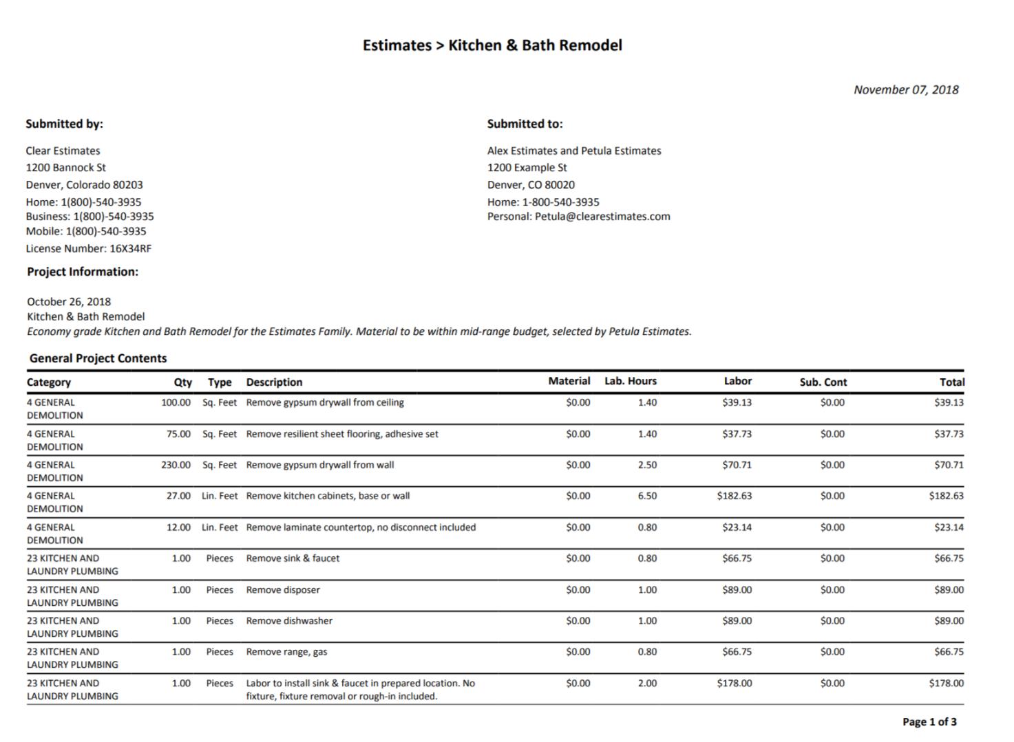 Spreadsheet breakdown of estimate