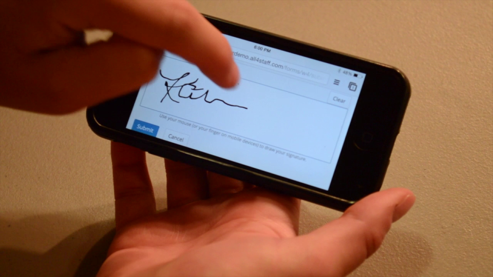 Fingertip signature allows for safe and secure authentication and approval of documents