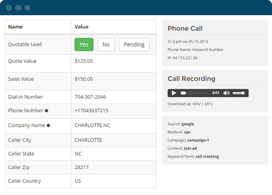 WhatConverts screenshot: Lead calling screen with recording options