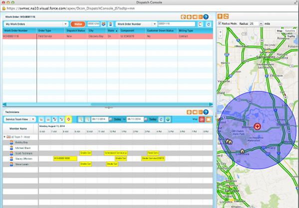 Map traffic view using the ServiceMax app