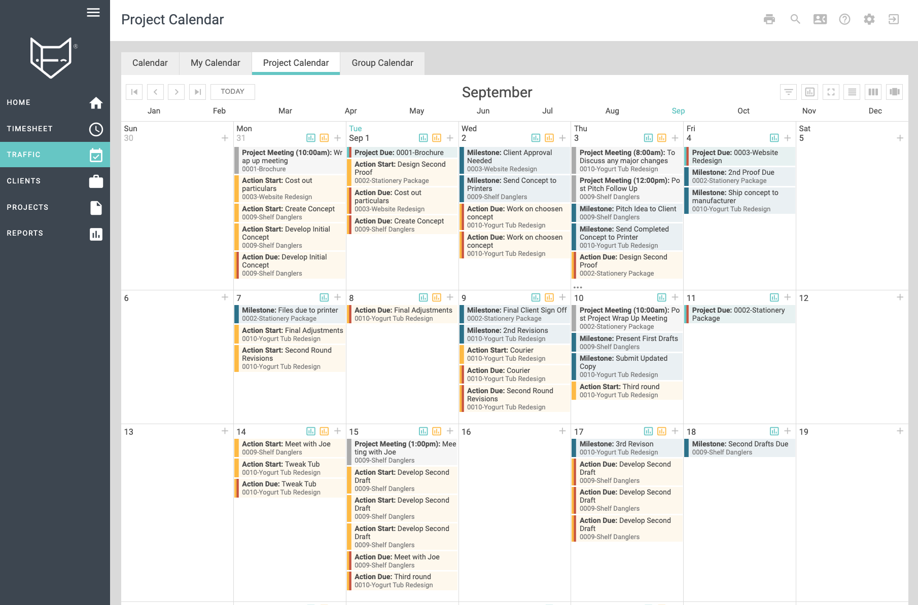 Project Calendars: Calendar view of your project schedules - don't let deadlines slip past.