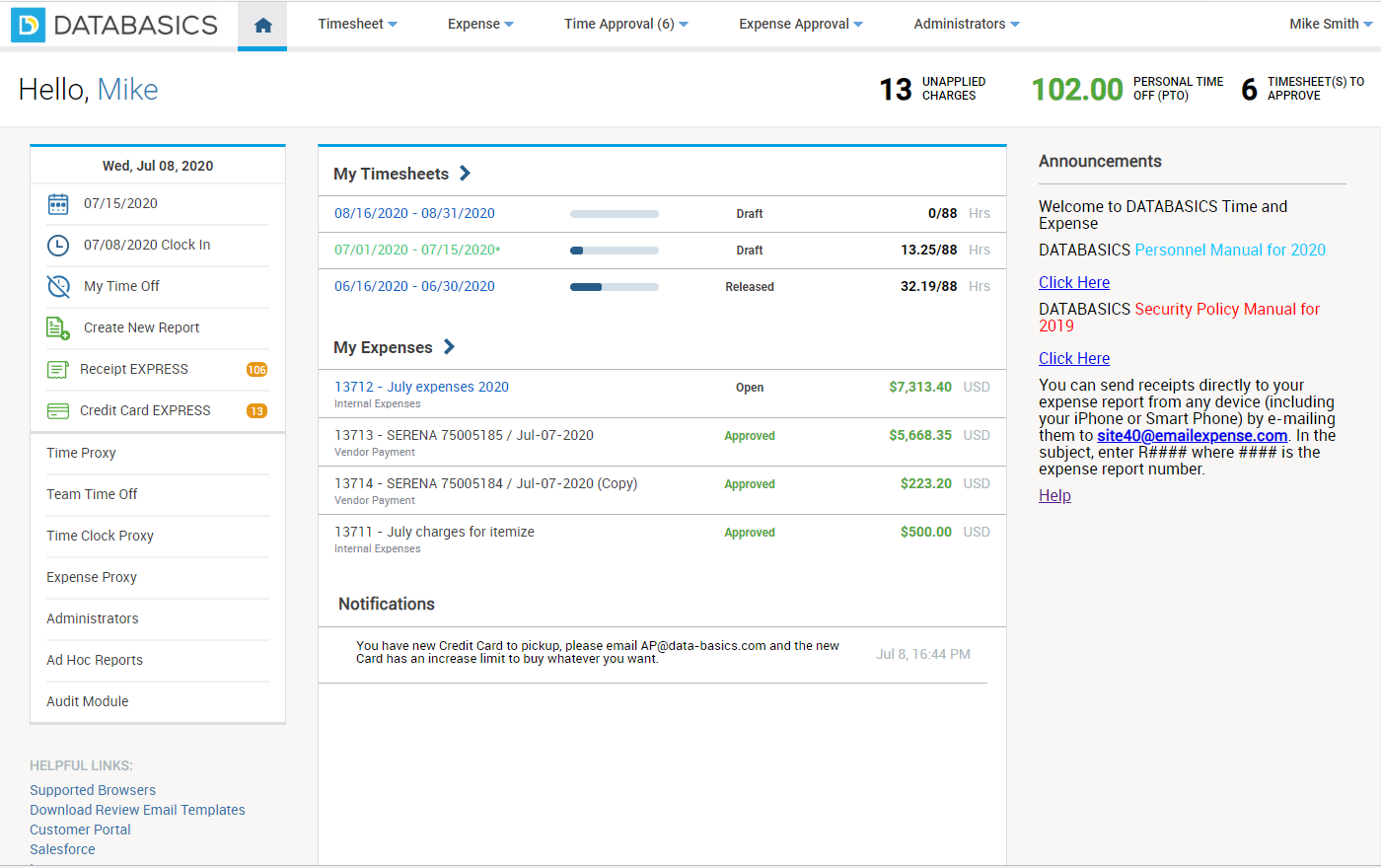Check out the view for employees. It's easy to enter time and expenses in one screen.