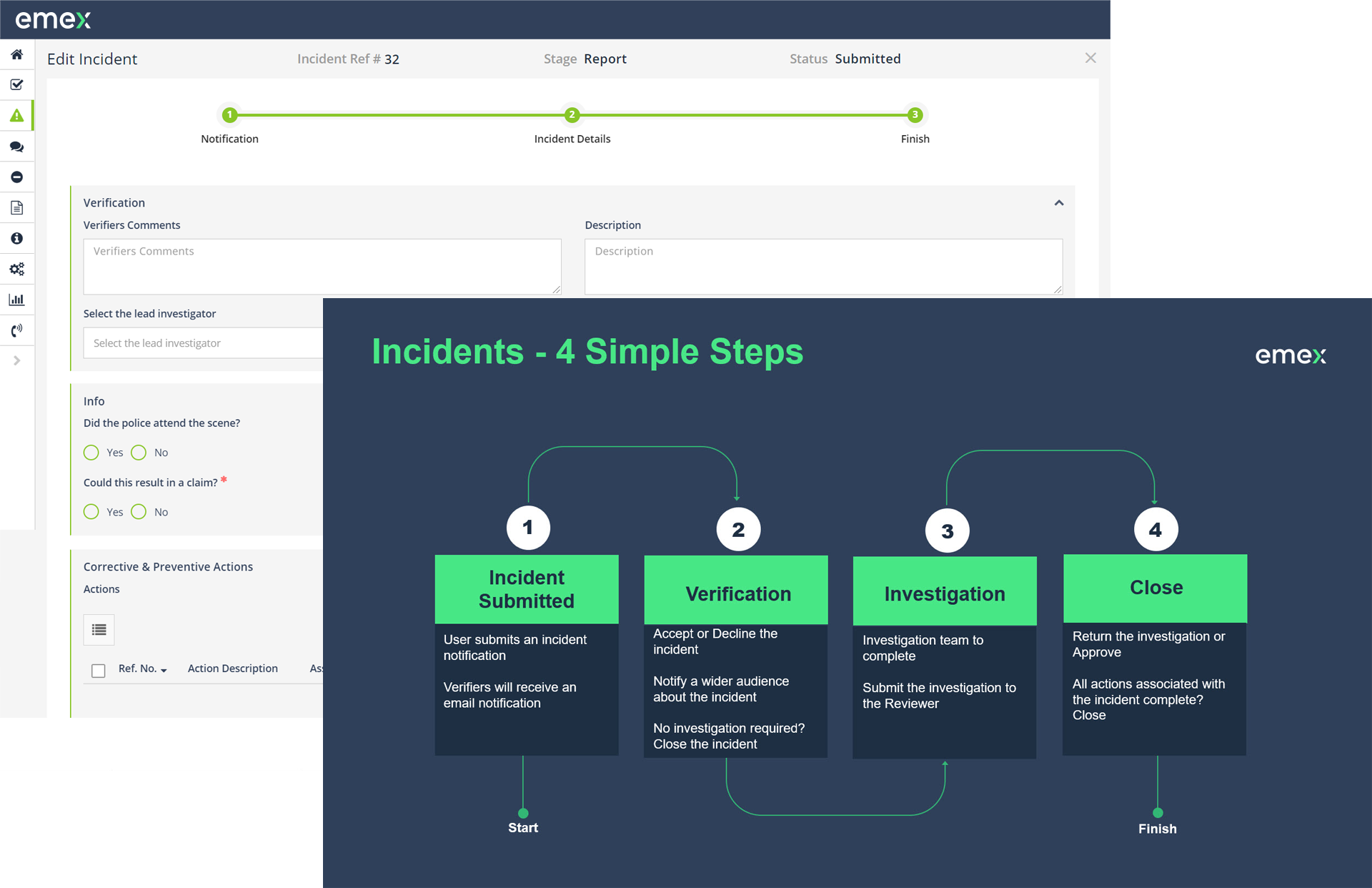Emex EHS & ESG Software Software - Manage incident lifecycle from open through to close out to ensure everything is completed from start to finish.