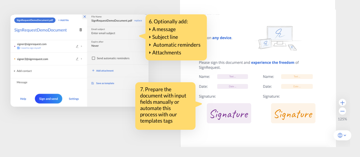 Prepare the document by adding the required fields, including the signee names, dates and signatures