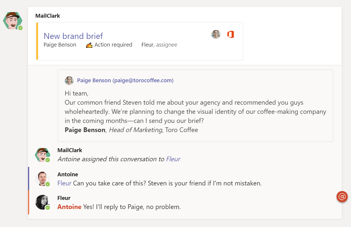 MS Teams - Assign the right person to manage the message and discuss with Internal comments