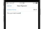 Captura de tela do Venmo: Transfer money using a contact's name, @username, phone or email