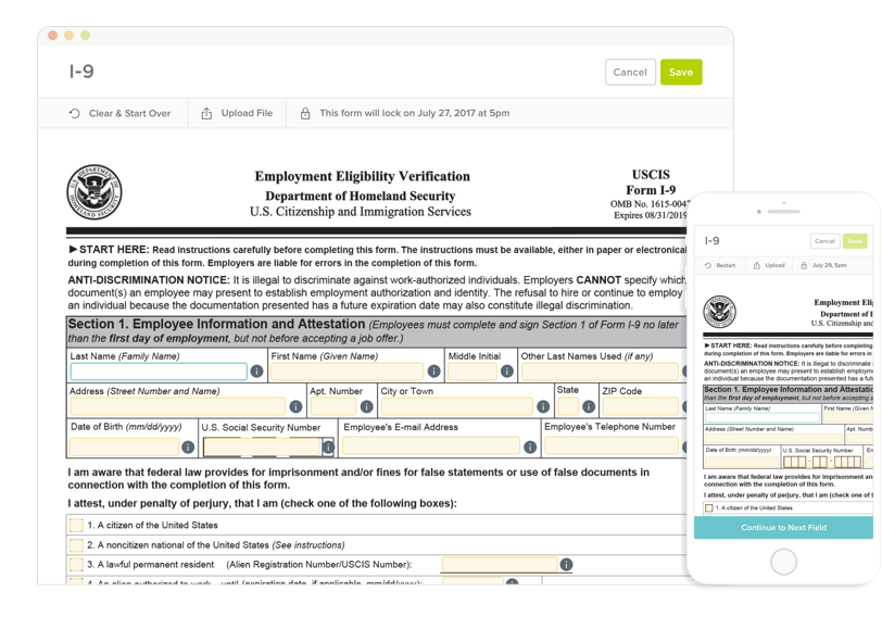Electronically sign, store and audit I-9 and W-4 forms