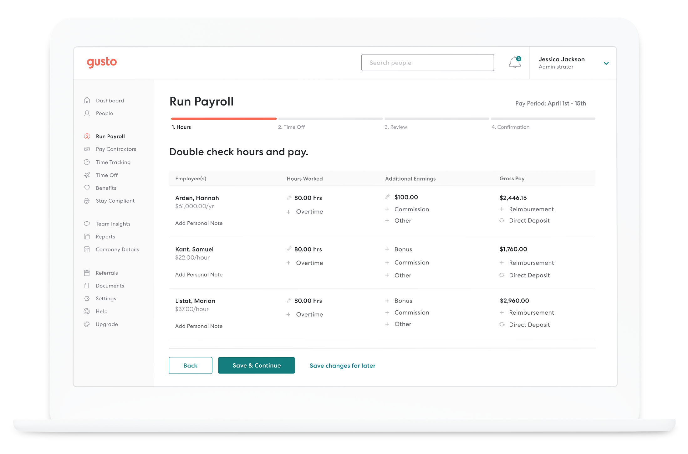 Gusto screenshot: Gusto run payroll