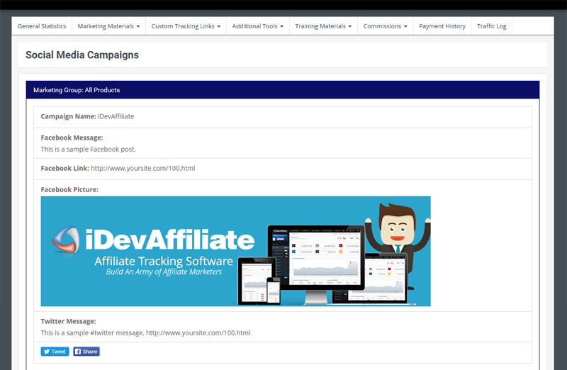 Users can set up social media campaigns through iDevAffiliate