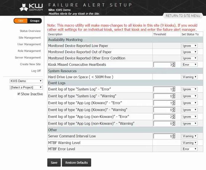 KioCloud alerts view