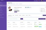 CoachVantage screenshot: Client management. Manage engagements, notes, sessions, invoices and contracts, all in one place.
