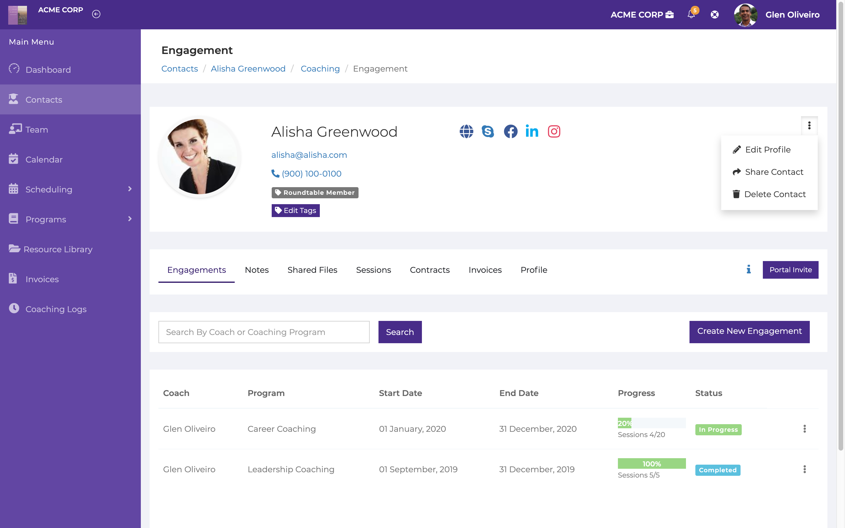 Client management. Manage engagements, notes, sessions, invoices and contracts, all in one place.