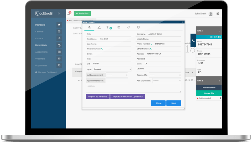 CallTools screenshot: Inbound call center with CRM integration