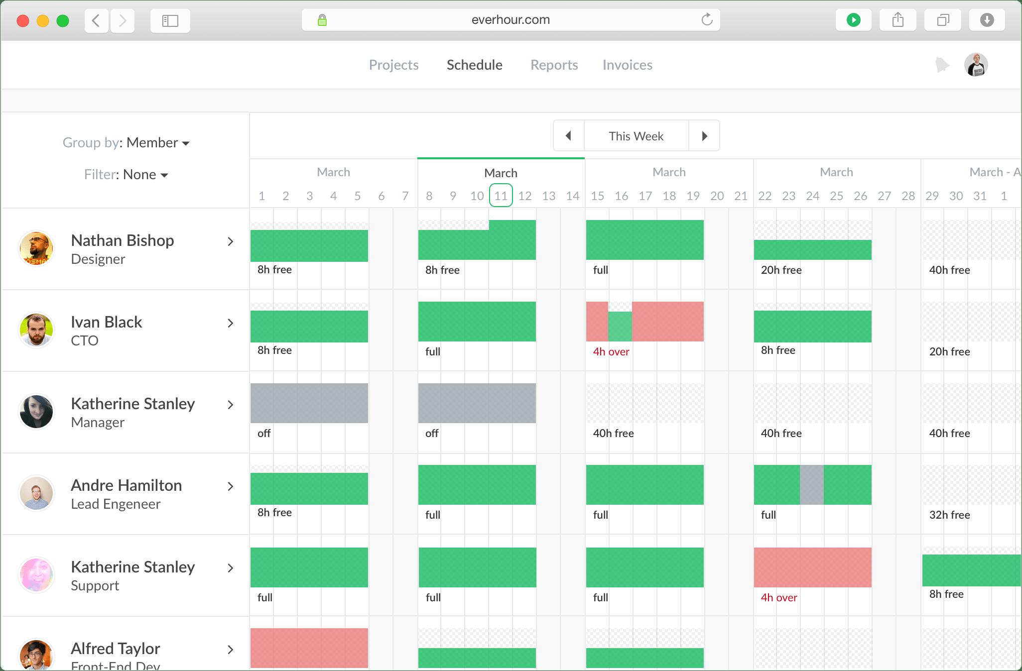 Everhour scheduler