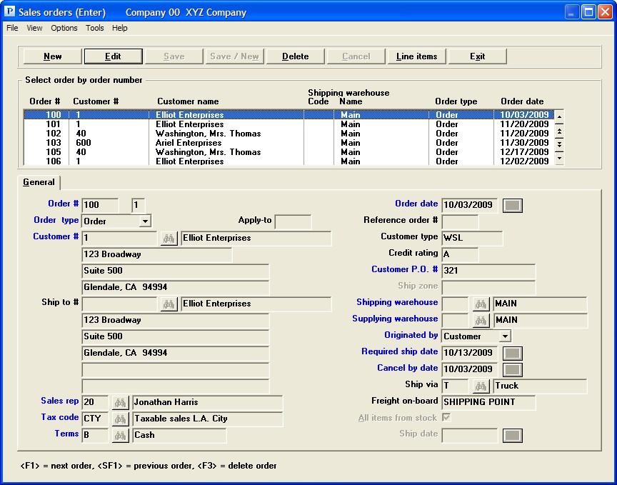 PBS Accounting Software - Shop order