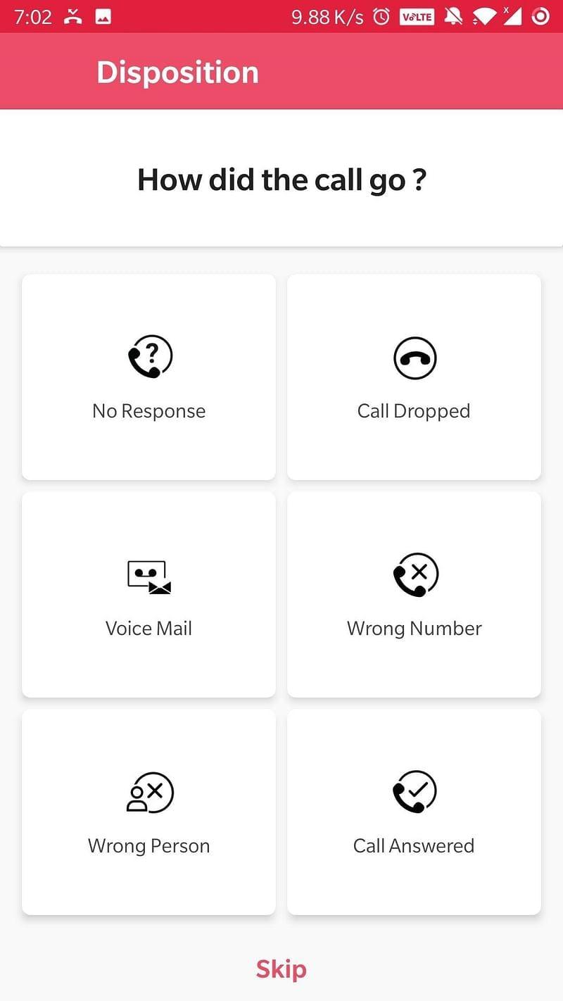 Salesken Software - Salesken call disposition