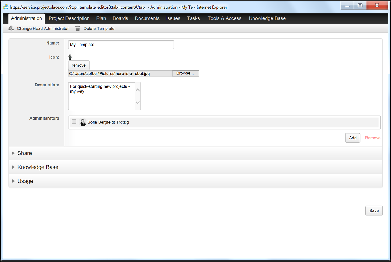 Project management templates in Projectplace
