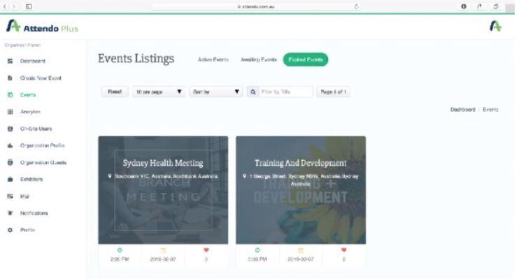 Attendo Plus event listings