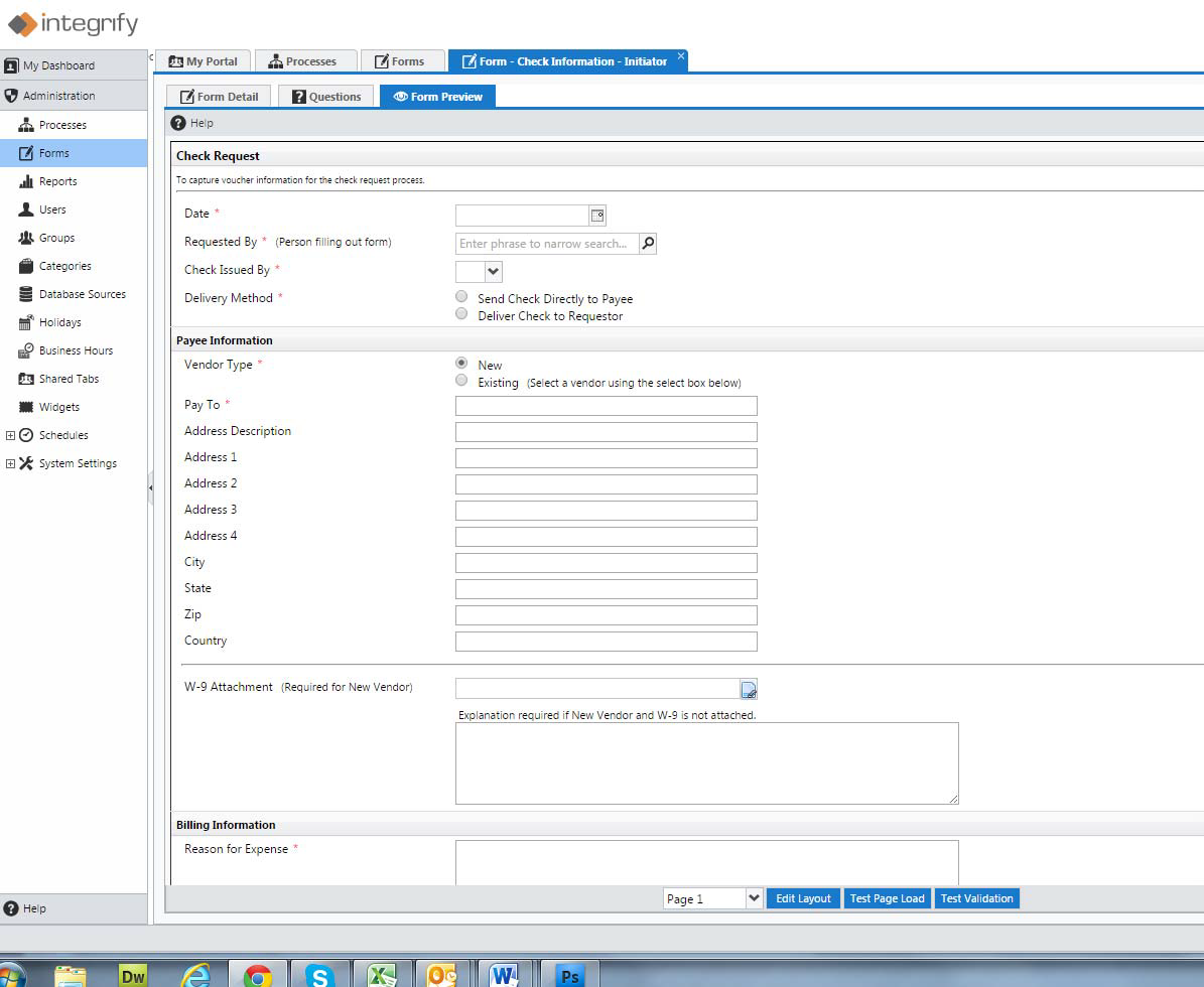 Create online business forms.