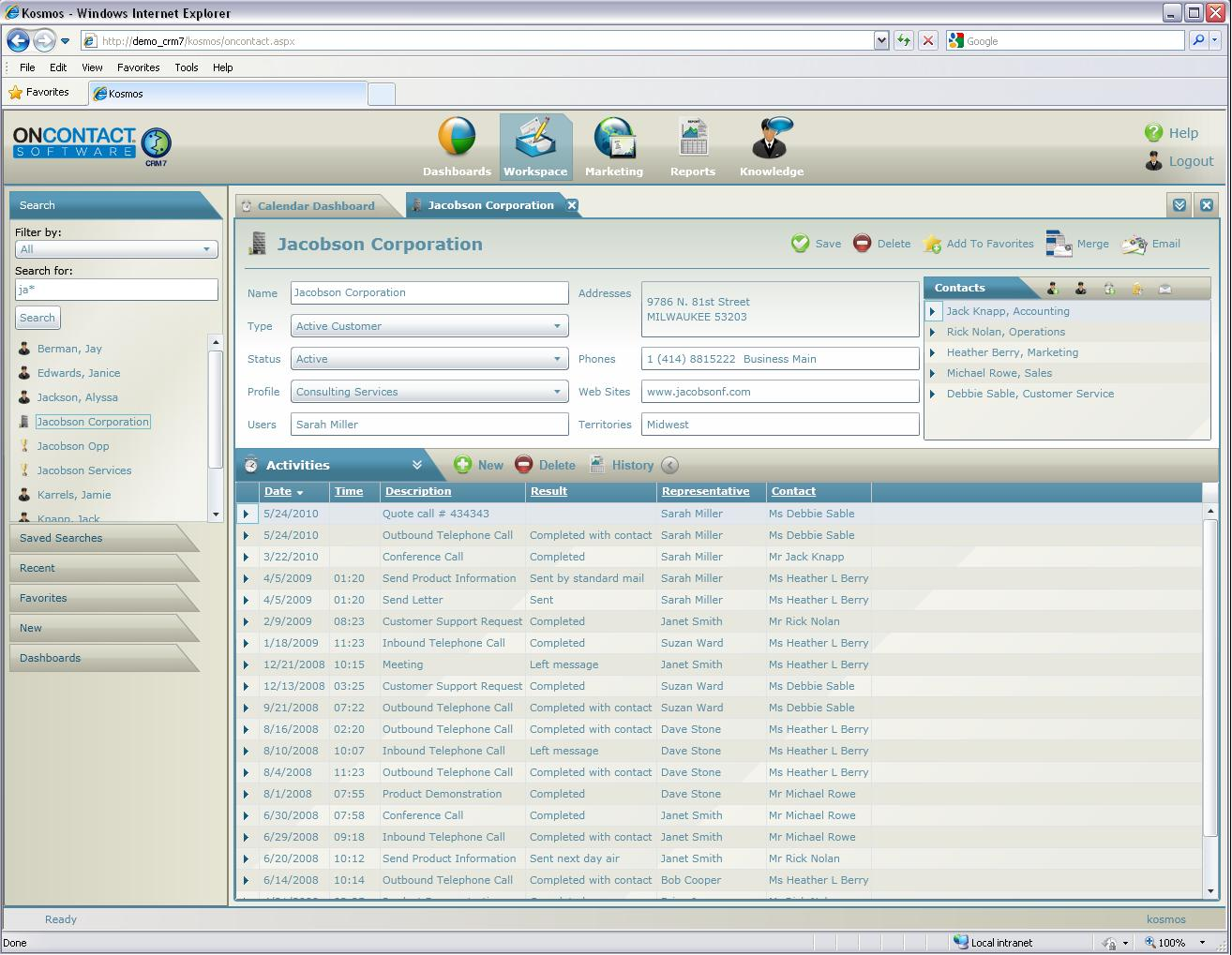 OnContact CRM 7 Software - Overview of company profile data