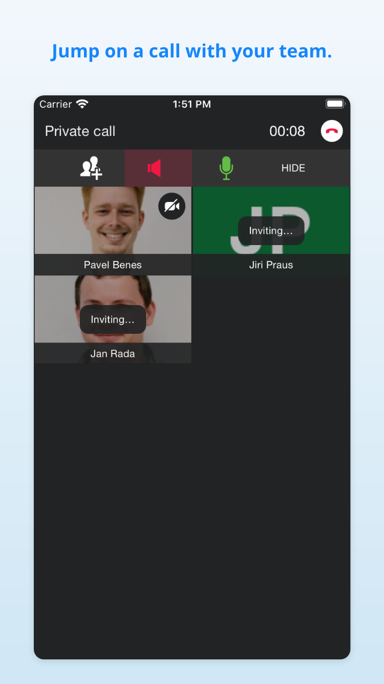 Audio and video call on the go with Samepage mobile app or on your computer or in browser and desktop app.
