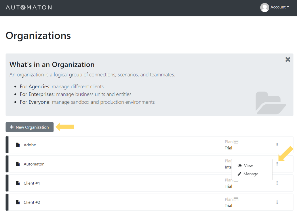 Atomatest add organizations