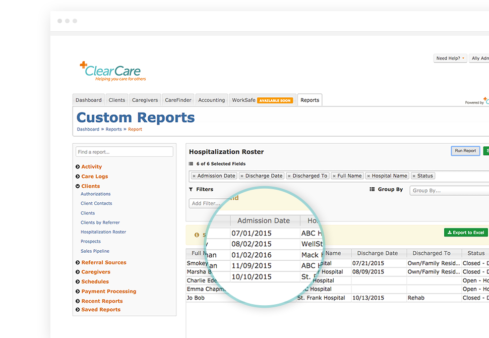With re-admission management software built-in, hospital and re-admission tracking results can be shared with staff via custom reports