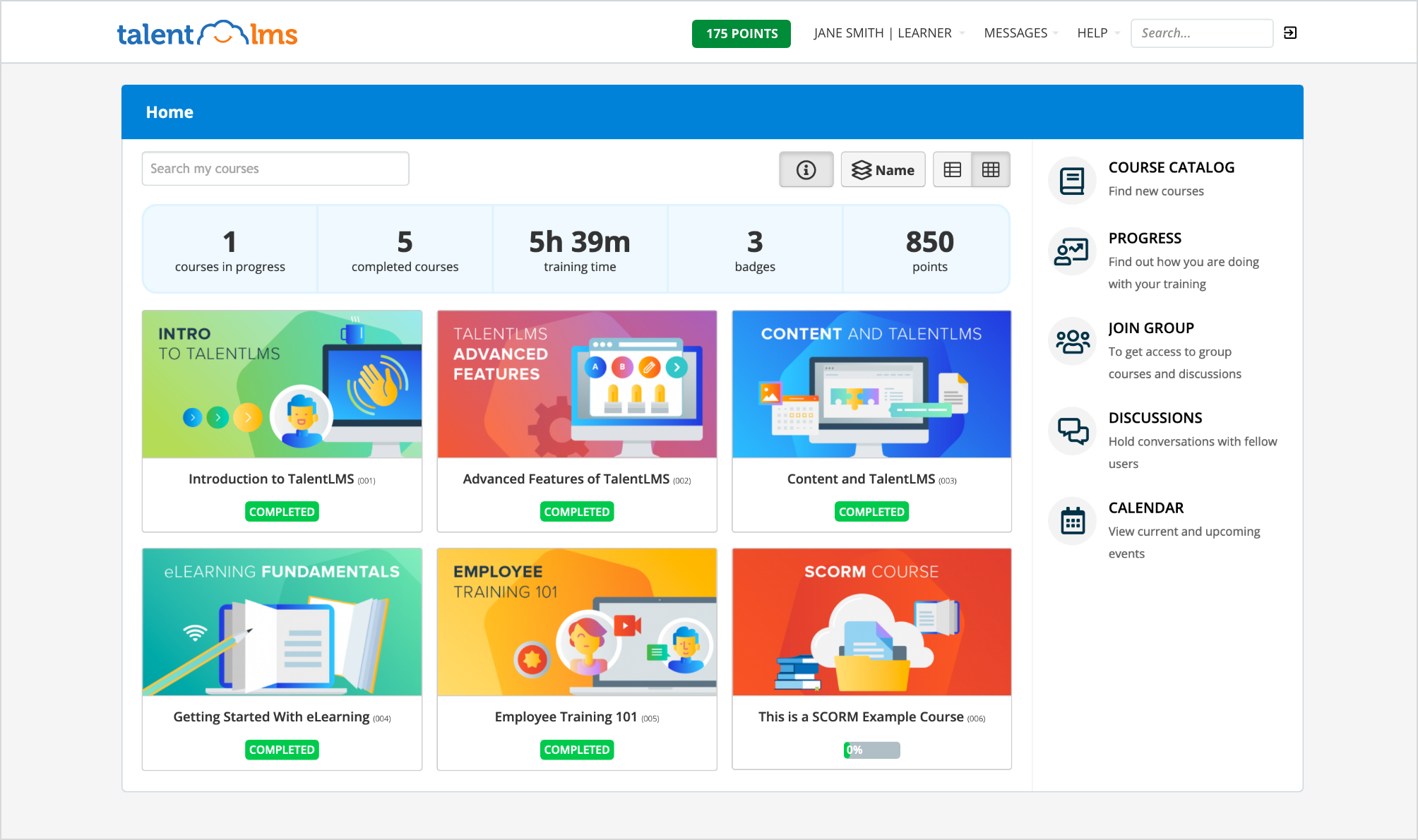 TalentLMS screenshot: TalentLMS Learner home page featuring courses and course status